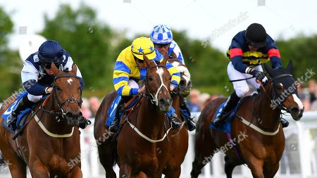 Stock Image of Winner of The Shadwell Stud Racing Excellence Apprentice Handicap Moorovertheridge left ridden by Harry Burns and trained by Grace Harris  during Afternoon Racing at Salisbury Racecourse on 17th May 2018