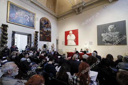 A view on Pape (M) and Mao (R) by Chinese painter Yan Pei-Ming on display during the presentation of the exhibition 'Echo and Narcissus' at the Marbles Hall at Palazzo Barberini Corsini, Rome, Italy, 17 May 2018. The exhibition runs from 18 May to 28 October 2018.
