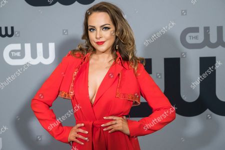 Elizabeth Gillies attends The CW Network 2018 Upfront at The London NYC, in New York