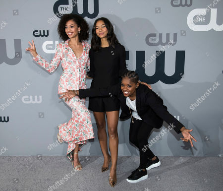 Samantha Logan, Greta Onieogou, Bre-Z. Samantha Logan, from left, Greta Onieogou and Bre-Z attend The CW Network 2018 Upfront at The London NYC, in New York