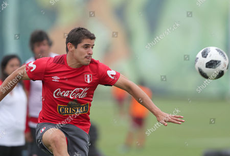 Peruvian soccer player Aldo Corzo during a training session at the Villa Deportiva Nacional facilities, in Lima, Peru, 17 May 2018. Peruvian team will play friendly games with Scotland, Saudi Arabia, and Sweden before the Russia 2018 World Soccer Cup.