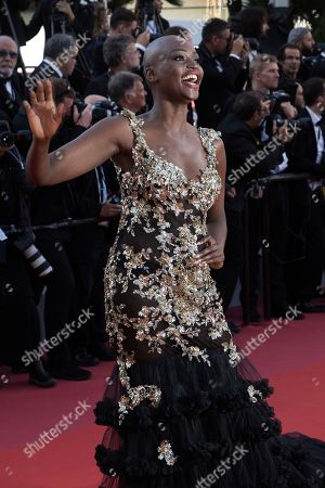 Miriam Odemba poses for photographers upon arrival at the premiere of the film 'Capharnaum' at the 71st international film festival, Cannes, southern France