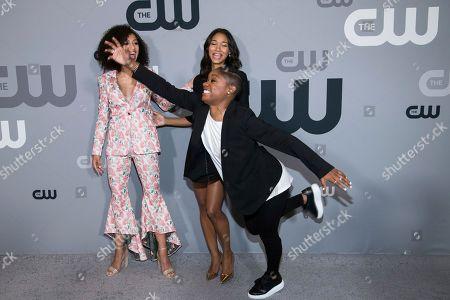 Samantha Logan, Greta Onieogou, Bre-Z. Samantha Logan, left, Greta Onieogou and Bre-Z attend The CW Network 2018 Upfront at The London NYC, in New York