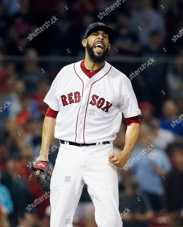Boston Red Sox's David Price celebrates after Baltimore Orioles' Jonathan Schoop flied out for the final out of a baseball game in Boston, . The Red Sox won 6-2
