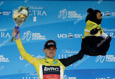 Tejay van Garderen celebrates after retaining the yellow jersey after the fifth stage of the Tour of California cycling race, in Elk Grove, Calif