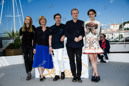 (L-R) Cinefondation jury members Alante Kavaite, Valeska Grisebach, Cinefondation jury chair Bertrand Bonello with jury members Khalil Joreige and Ariane Labed pose during a photocall at the 71st annual Cannes Film Festival, in Cannes, France, 18 May 2018.