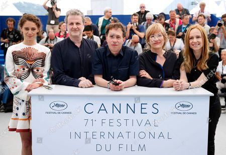 (R-L) Cinefondation jury members Alante Kavaite, Valeska Grisebach, Cinefondation jury chair Bertrand Bonello with jury members Khalil Joreige and Ariane Labed pose during a photocall at the 71st annual Cannes Film Festival, in Cannes, France, 18 May 2018.