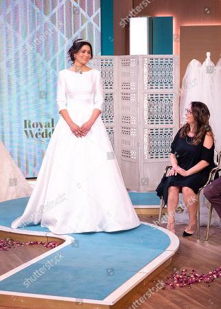 Model wearing wedding dress with dress designer Suzanne Neville, celebrity jeweller Stephen Webster and royal hairdresser Richard Ward.