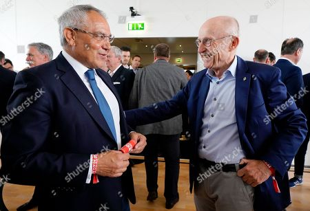 Stock Picture of German soccer coach Felix Magath (L) and United Nations Secretary-Generalâ??s Special Adviser on Sport for Development and Peace, Willi Lemke talk during BILD100 Sport event in Berlin, Germany, 18 May 2018. The event invites 100 of the most important and influential German and International personalities of Politics, Economics and Sport.