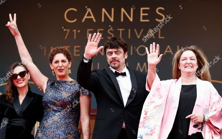 (L-R) Un Certain Regard jury members Virginie Ledoyen, Annemarie Jacir, Un Certain Regard president Benicio Del Toro and Julie Huntsinger arrive for the screening of 'Ayka' during the 71st annual Cannes Film Festival, in Cannes, France, 18 May 2018. The movie is presented in the Official Competition of the festival which runs from 08 to 19 May.