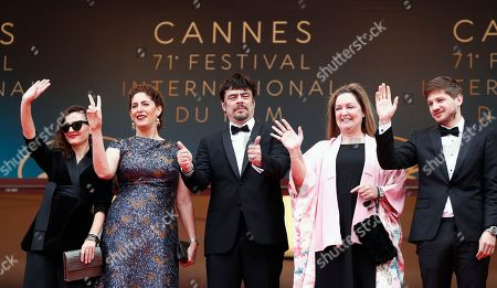 (L-R) Un Certain Regard jury members Virginie Ledoyen, Annemarie Jacir, Un Certain Regard president Benicio Del Toro with jury members Julie Huntsinger and Kantemir Balagov arrive for the screening of 'Ayka' during the 71st annual Cannes Film Festival, in Cannes, France, 18 May 2018. The movie is presented in the Official Competition of the festival which runs from 08 to 19 May.