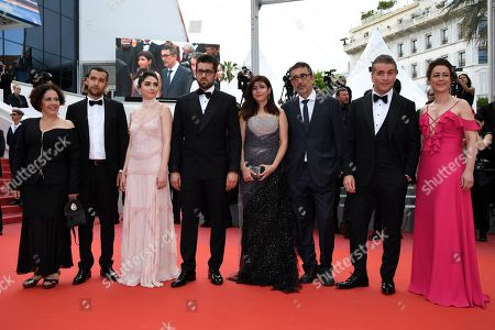 (R-L) Actress Bennu Yildirimlar, actor Murat Cemcir, writer Ebru Ceylan, director Nuri Bilge Ceylan, actor Dogu Demirkol, actress Hazar Erguclu and actor Akin Aksu  arrive for the screening of 'The Wild Pear Tree  (Ahlat Agaci)' during the 71st annual Cannes Film Festival, in Cannes, France, 18 May 2018. The movie is presented in the Official Competition of the festival which runs from 08 to 19 May.