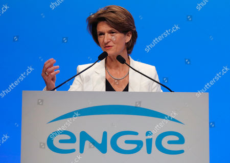 CEO of French gas and power group Engie Isabelle Kocher gestures as she speaks during the shareholder meeting of the group in Paris, France