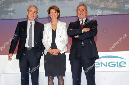 New elected chairman of French gas and power group Engie Jean-Pierre Clamadieu, left, CEO Isabelle Kocher, center, and outgoing chairman Gerard Mestrallet pose for photographers after the shareholder meeting of the group in Paris, France