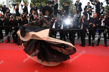 Model Miriam Odemba pose for photographers upon arrival at the premiere of the film 'The Wild Pear Tree' at the 71st international film festival, Cannes, southern France