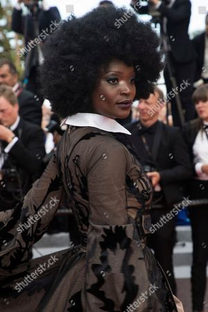 Model Miriam Odemba poses for photographers upon arrival at the premiere of the film 'The Wild Pear Tree' at the 71st international film festival, Cannes, southern France
