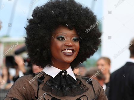 Stock Image of Model Miriam Odemba poses for photographers upon arrival at the premiere of the film 'The Wild Pear Tree' at the 71st international film festival, Cannes, southern France