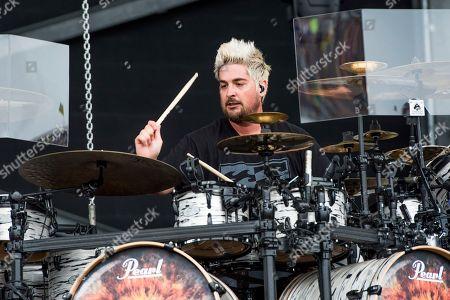 Shaun Foist of Breaking Benjamin performs at the Rock On The Range Music Festival at Mapfre Stadium, in Columbus, Ohio