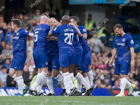Roberto Di Matteo of Chelsea Legends celebrates scoring Chelsea's first goal, Chelsea Legends v Inter Milan Forever, Ray Wilkins Memorial Match, Stamford Bridge, London United Kingdom, 18th May 2018