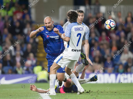Pierluigi Casiraghi of Chelsea Legends clashes with team mate Michael Ballack, Chelsea Legends v Inter Milan Forever, Ray Wilkins Memorial Match, Stamford Bridge, London United Kingdom, 18th May 2018