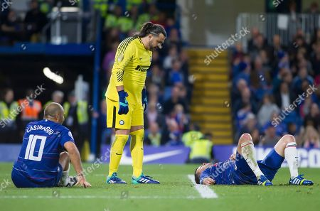 Sebastian Frey of Inter Forever looks on at Michael Ballack of Chelsea Legends as he lays injured, Chelsea Legends v Inter Milan Forever, Ray Wilkins Memorial Match, Stamford Bridge, London United Kingdom, 18th May 2018