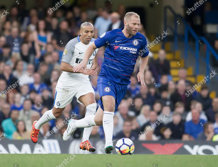 Stock Photo of Eidur Gudjohnsen of Chelsea Legends in action, Chelsea Legends v Inter Milan Forever, Ray Wilkins Memorial Match, Stamford Bridge, London United Kingdom, 18th May 2018