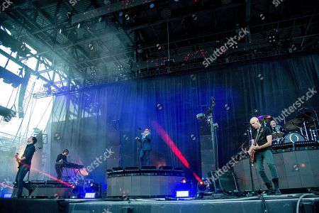 Matt McJunkins, Maynard James Keenan, Billy Howerdel, Jeff Friedl. Matt McJunkins, left, Maynard James Keenan, center, Billy Howerdel, second right, and Jeff Friedl, right, of A Perfect Circle perform at the Rock On The Range Music Festival at Mapfre Stadium, in Columbus, Ohio