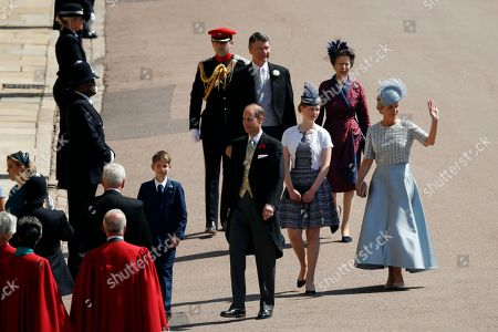 Stock Picture of Britain's Prince Edward, center left, Sophie, Countess of Wessex, right, James, Viscount Severn, left, and Lady Louise Windsor, second right, followed by Britain's Princess Anne, top right, and Vice Admiral Timothy Laurence arrive for the wedding ceremony of Prince Harry and Meghan Markle at St. George's Chapel in Windsor Castle in Windsor, near London, England
