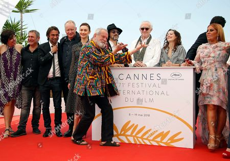 Director Terry Gilliam (front) poses with (L-R) Jordi Molla, Stellan Skarsgard, Olga Kurylenko, Oscar Jaenada, Jonathan Pryce, Joana Ribeiro, Adam Driver, Alessandra Lo Savio, Amy Gilliam, and Sergi Lopez pose during the photocall for 'The Man who Killed Dom Quixote' at the 71st annual Cannes Film Festival, in Cannes, France, 19 May 2018. The movie is presented out of competition at the festival which runs from 08 to 19 May.