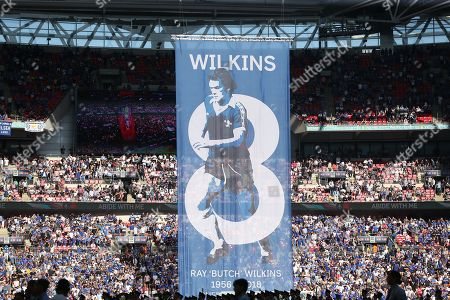 A banner for the late Ray Wilkins