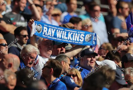 Chelsea fan with Ray Wilkins Tribute scarf