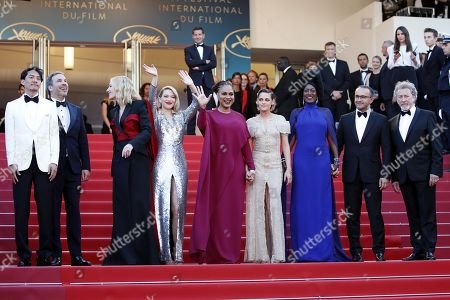 (L-R) Jury members Chang Chen, Denis Villeneuve, Ava DuVernay, Lea Seydoux, Jury president Cate Blanchett, Jury members Kristen Stewart, Khadja Nin, Robert Guediguian and Andrey Zvyagintsev arrive for the screening of 'The Man who Killed Dom Quixote' and Closing Awards Ceremony of the 71st annual Cannes Film Festival, in Cannes, France, 19 May 2018.