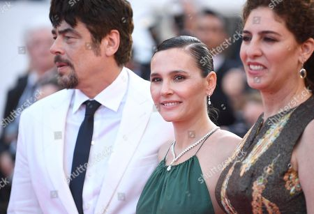 Annemarie Jacir, Virginie Ledoyen, Benicio Del Toro. Un Certain Regard jury members Annemarie Jacir, from right, Virginie Ledoyen and Benicio Del Toro pose for photographers upon arrival at the premiere of the film 'The Man Who Killed Don Quixote' and the closing ceremony of the 71st international film festival, Cannes, southern France
