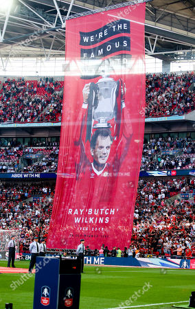 Ray Wilkins remembered at the FA Cup Final - large banner in Manchester United Colours