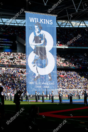 Ray Wilkins remembered at the FA Cup Final - large banner in Chelsea Colours