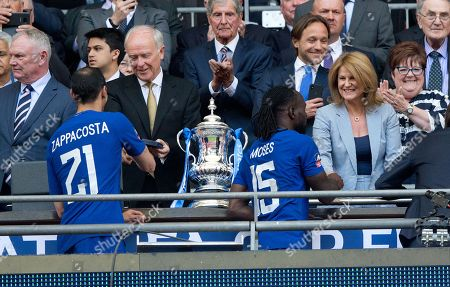 Tim Clark President of Emirates & Jackie Wilkins  present medals to Victor Moses & Davide Zappacosta of Chelsea