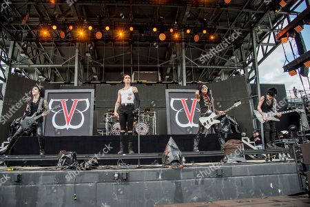 Jinxx, Andy Biersack, Ashley Purdy, Jake Pitts. Jinxx, from left, Andy Biersack, Ashley Purdy and Jake Pitts of Black Veil Brides perform at the Rock On The Range Music Festival at Mapfre Stadium, in Columbus, Ohio