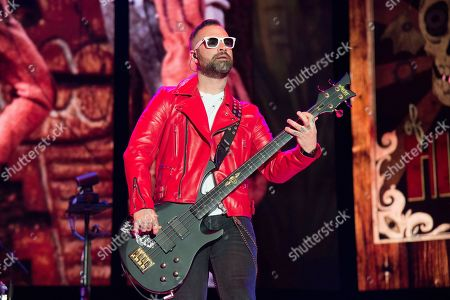Stock Photo of Johnny Christ of Avenged Sevenfold performs at the Rock On The Range Music Festival at Mapfre Stadium, in Columbus, Ohio