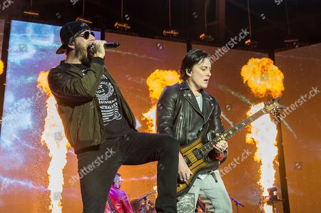 M. Shadows, Synyster Gates, Matthew Charles Sanders, Brian Elwin Haner Jr. M. Shadows, left, and Synyster Gates of Avenged Sevenfold perform at the Rock On The Range Music Festival at Mapfre Stadium, in Columbus, Ohio