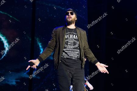 M. Shadows, Matthew Charles Sanders. M. Shadows of Avenged Sevenfold performs at the Rock On The Range Music Festival at Mapfre Stadium, in Columbus, Ohio