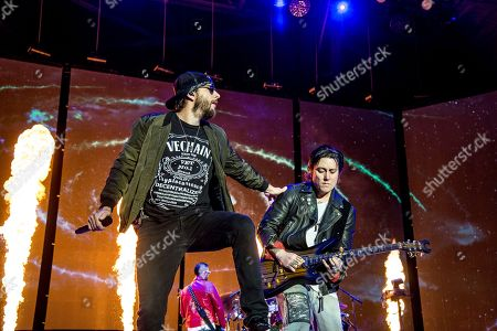 Stock Image of M. Shadows, Synyster Gates, Matthew Charles Sanders, Brian Elwin Haner Jr. M. Shadows, left, and Synyster Gates of Avenged Sevenfold perform at the Rock On The Range Music Festival at Mapfre Stadium, in Columbus, Ohio