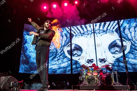 Stock Picture of M. Shadows, Matthew Charles Sanders. M. Shadows of Avenged Sevenfold performs at the Rock On The Range Music Festival at Mapfre Stadium, in Columbus, Ohio