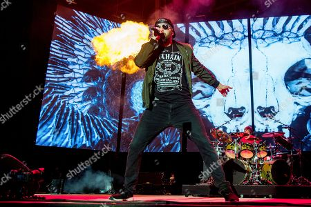Stock Image of M. Shadows, Matthew Charles Sanders. M. Shadows of Avenged Sevenfold performs at the Rock On The Range Music Festival at Mapfre Stadium, in Columbus, Ohio