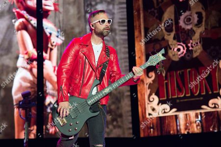 Stock Image of Johnny Christ of Avenged Sevenfold performs at the Rock On The Range Music Festival at Mapfre Stadium, in Columbus, Ohio