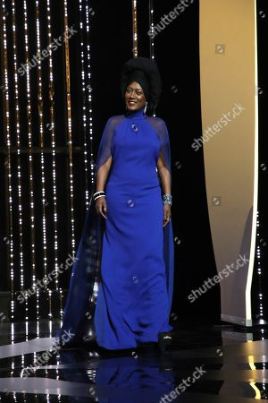 Jury member Khadja Nin walks onstage during the closing ceremony of the 71st international film festival, Cannes, southern France