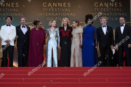Chang Chen, Denis Villeneuve, Cate Blanchett, Lea Seydoux, Ava DuVernay, Kristen Stewart, Khadja Nin, Andrey Zvyagintsev, Robert Guediguian. From left, jury members Chang Chen, Denis Villeneuve, jury president Cate Blanchett, jury members Lea Seydoux, Ava DuVernay, Kristen Stewart, Khadja Nin, Andrey Zvyagintsev and Robert Guediguian pose for photographers upon arrival at the premiere of the film 'The Man Who Killed Don Quixote' and the closing ceremony of the 71st international film festival, Cannes, southern France