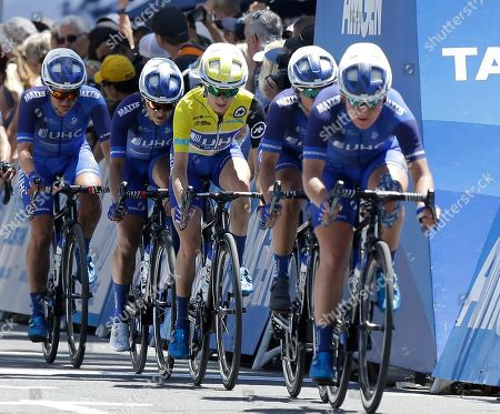 Katie Hall, third from left, rides in the middle of her UnitedHealthcare Pro Cycling team during the final stage of the Amgen Tour of California Women's cycling race, Saturday May, 19, 2018 in Sacramento, Calif. Hall won the overall three-day race
