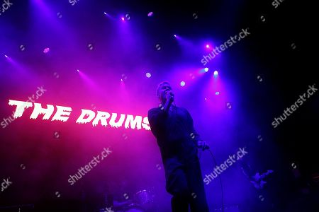 Singer Jonathan Pierce of the US band The Drums performs at the Plaza Condesa during the Marvin Festival in Mexico City, late