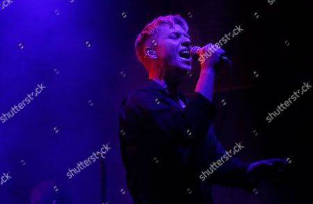 Singer Jonathan Pierce of the U.S. band The Drums performs at the Plaza Condesa during the Marvin Festival in Mexico City, late