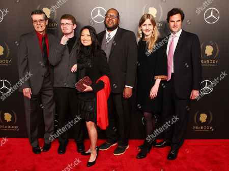 Robert Rody, David James Savarese, Carmen L. Vincencio, Christopher Hastings, Justine Nagan, Chris White. Robert Rody, from left, David James Savarese, Carmen L. Vincencio, Christopher Hastings, Justine Nagan and Chris White attends the 77th Annual Peabody Awards at Cipriani Wall Street, in New York